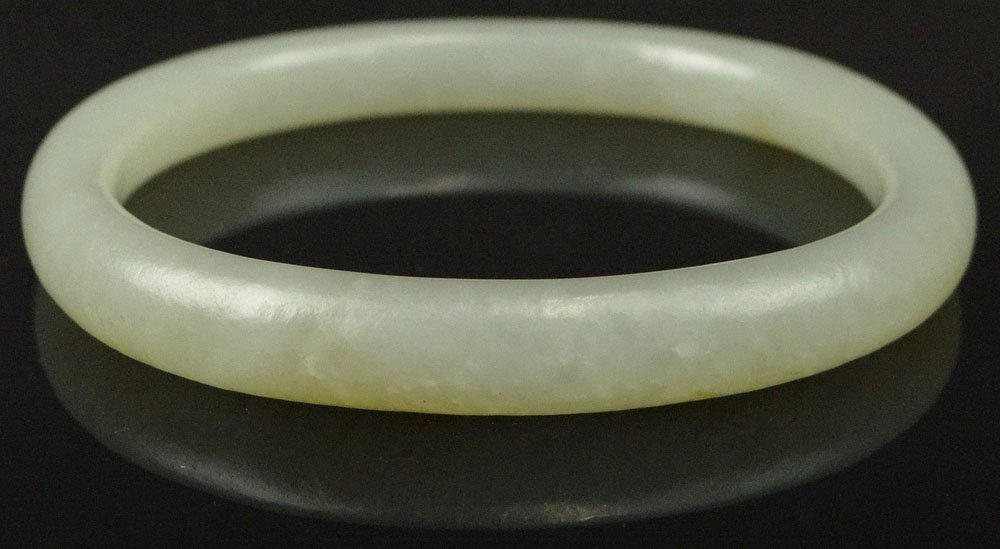 Chinese Pale Celadon Jade Oval Bangle. Unsigned. Good