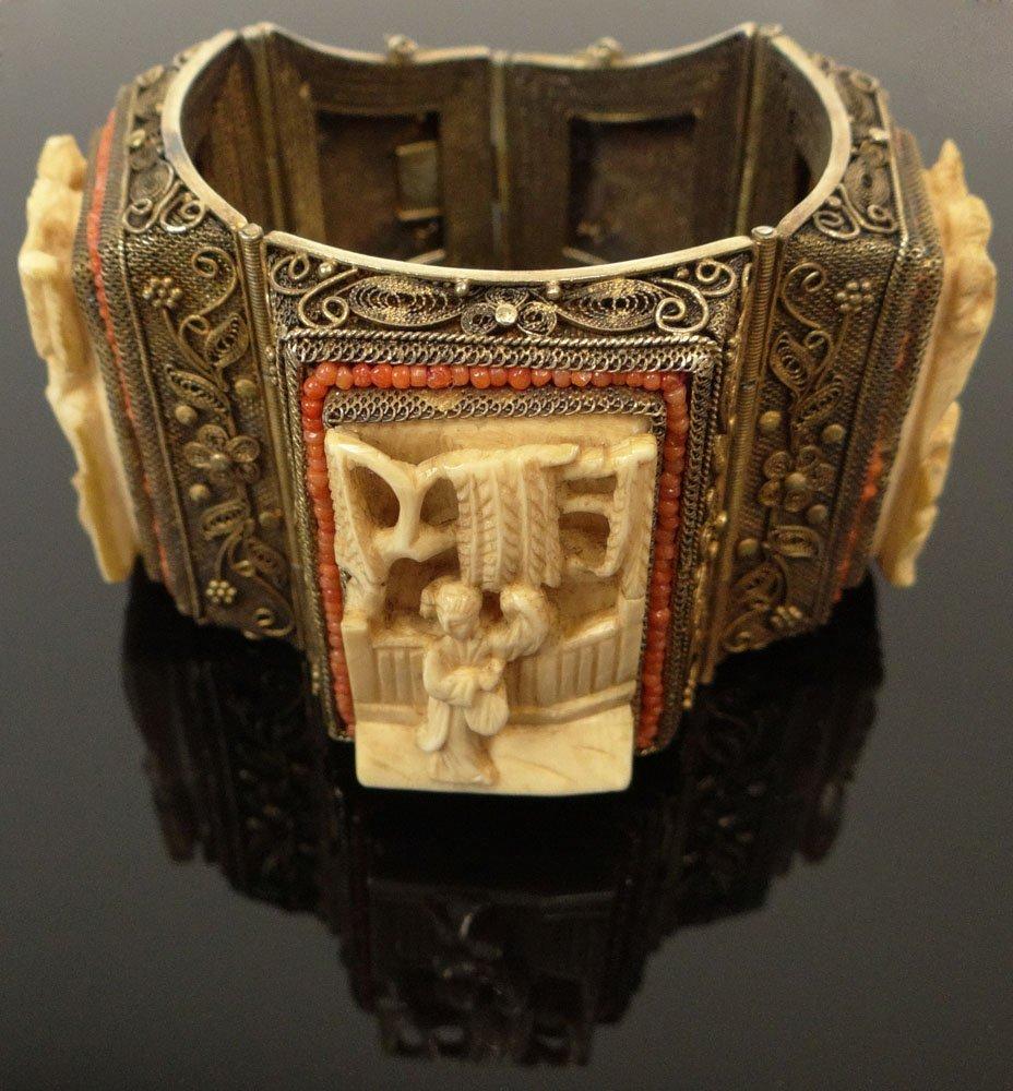 Circa 1930's Chinese Fine Filigree Vermeil, Carved