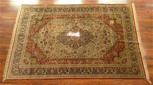 Semi Antique Persian Silk Kashan Rug Unsigned Needs