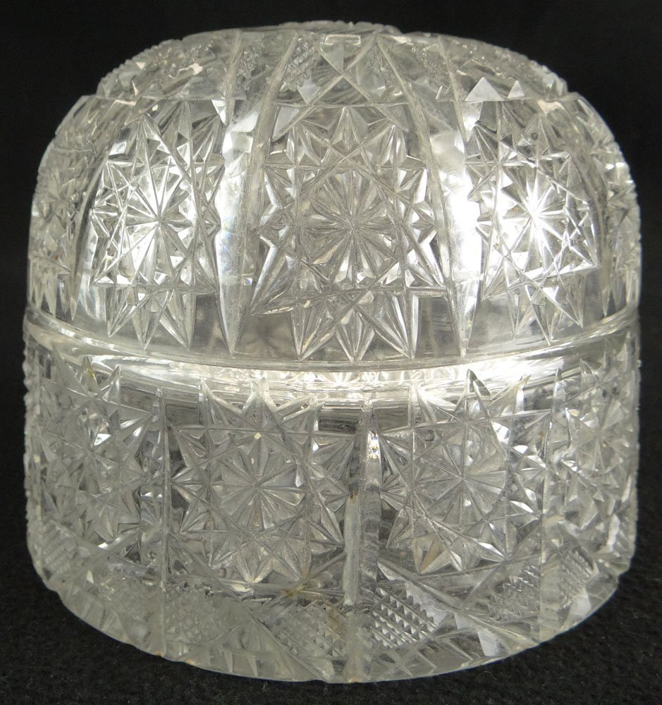Antique American Brilliant Cut Glass Dome Box.