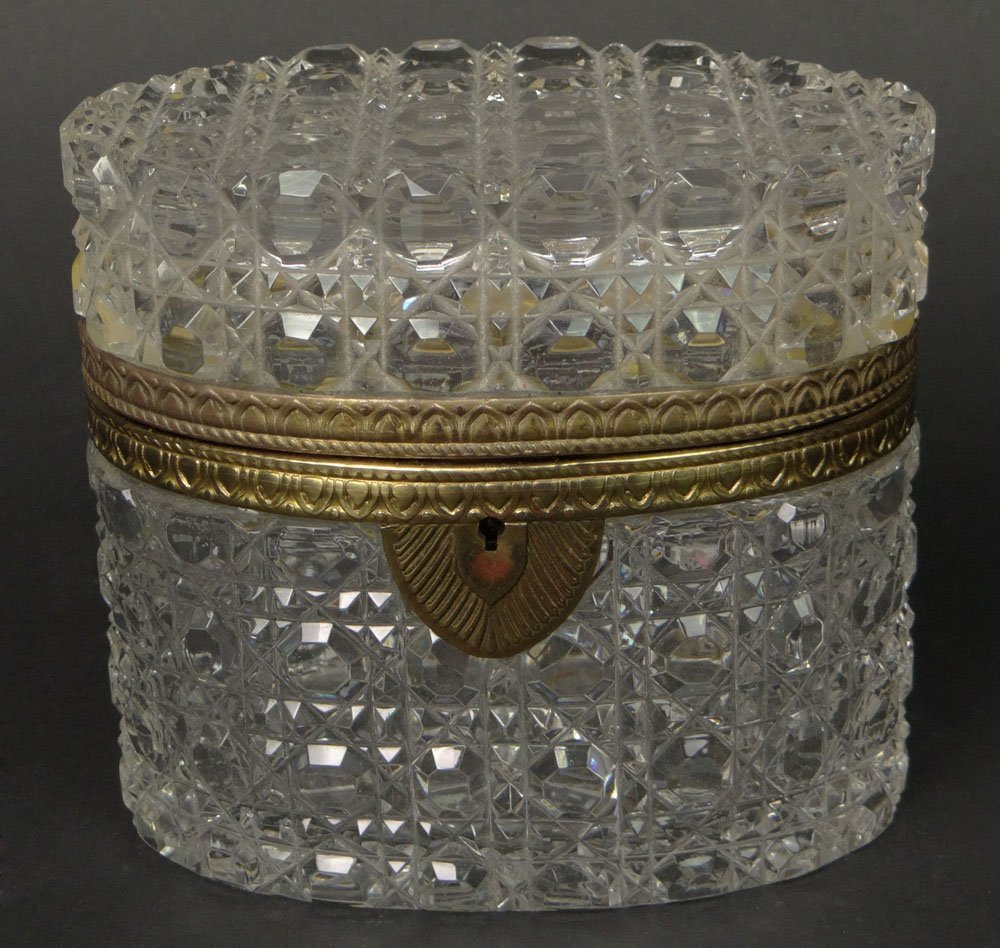 Early 20th Century Crystal Vanity Box with Bronze