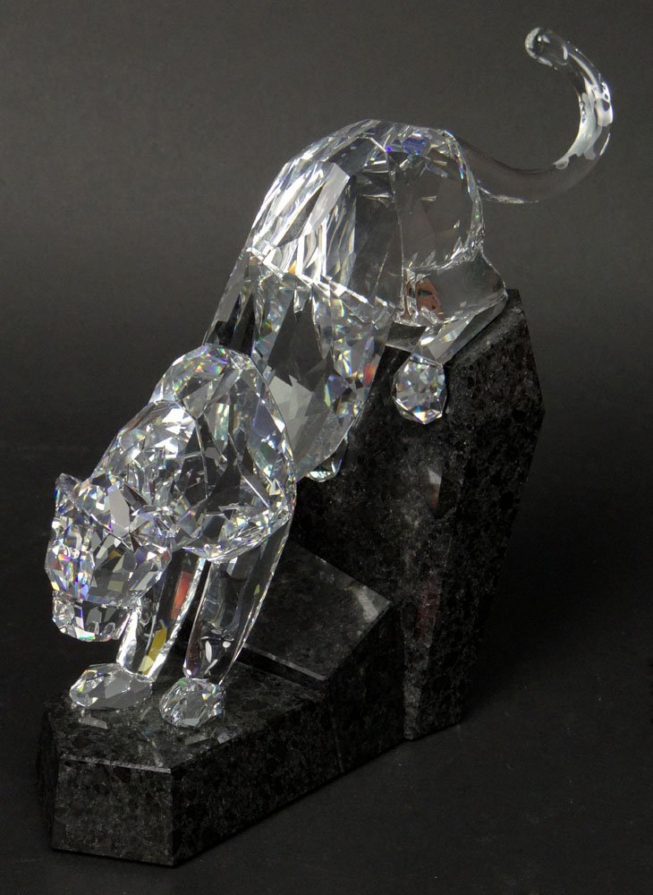 "Swarovski Crystal ""Soulmates"" Clear Panther on Granite"