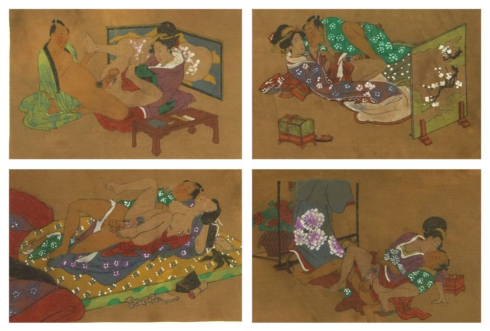 Set of Four (4) Erotic 19/20th Century Japanese Shunga
