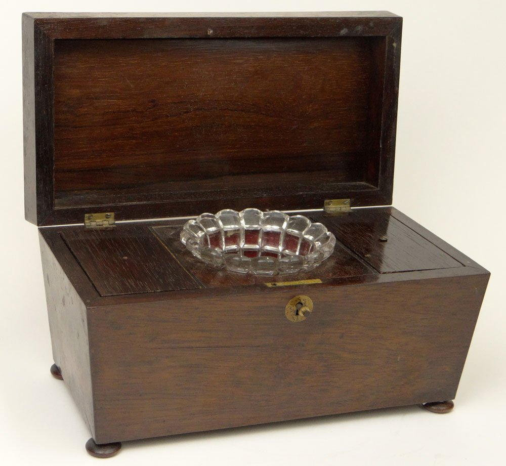 19th Century English Regency Rosewood Tea Caddy with