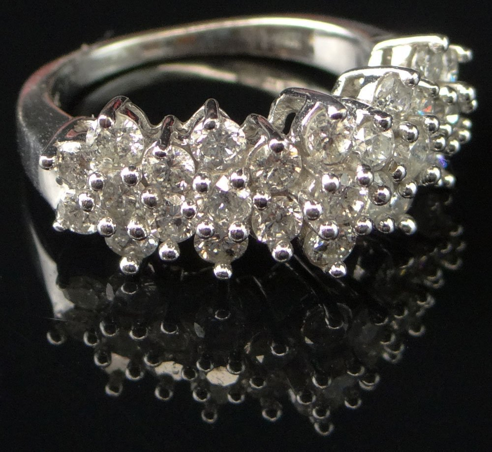 Modern Lady's Diamond Band Style Ring Set with