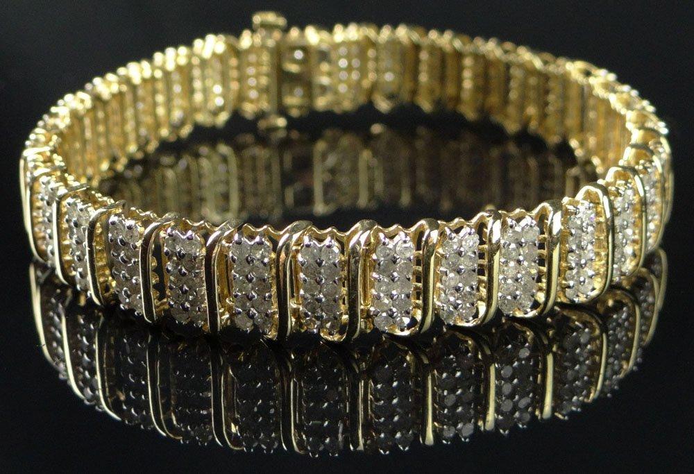 Lady's 10 Karat Yellow Gold and 330 Diamond Bracelet.