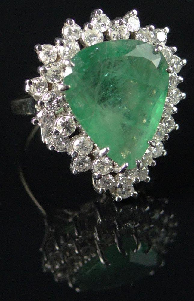 Lady's 18 Karat White Gold, Teardrop Emerald and
