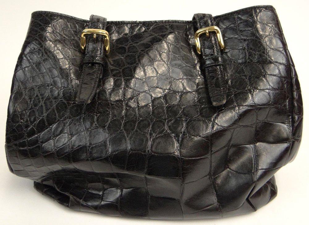 Mauro Governa Dark Brown Crocodile Lady's Hand Bag with