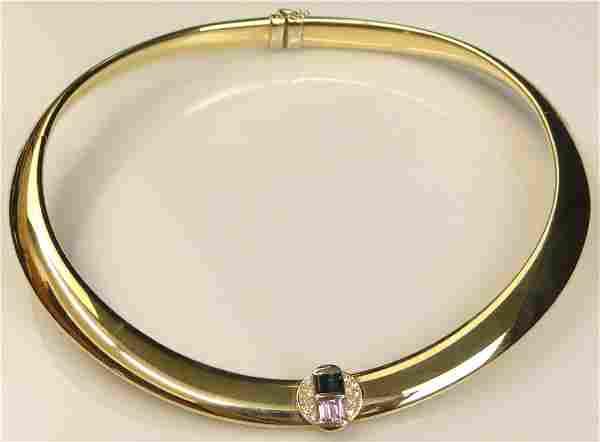 Lady's Vintage 18 Karat Yellow Gold, Diamond, and Pink