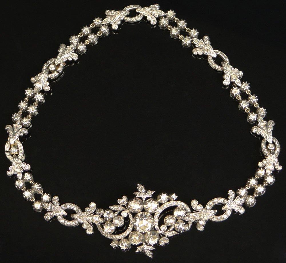 Antique Georgian Rose Cut Diamond Gold and Silver