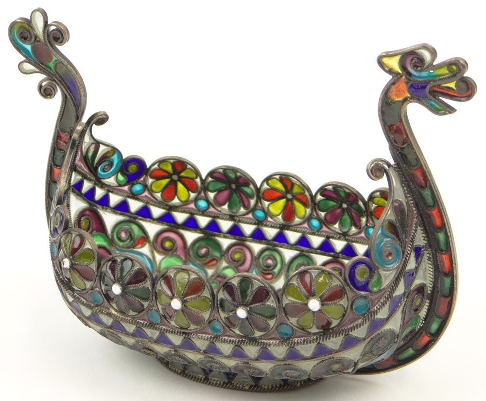 Plique-A-Jour Enamel and Silver Boat in the Form of a
