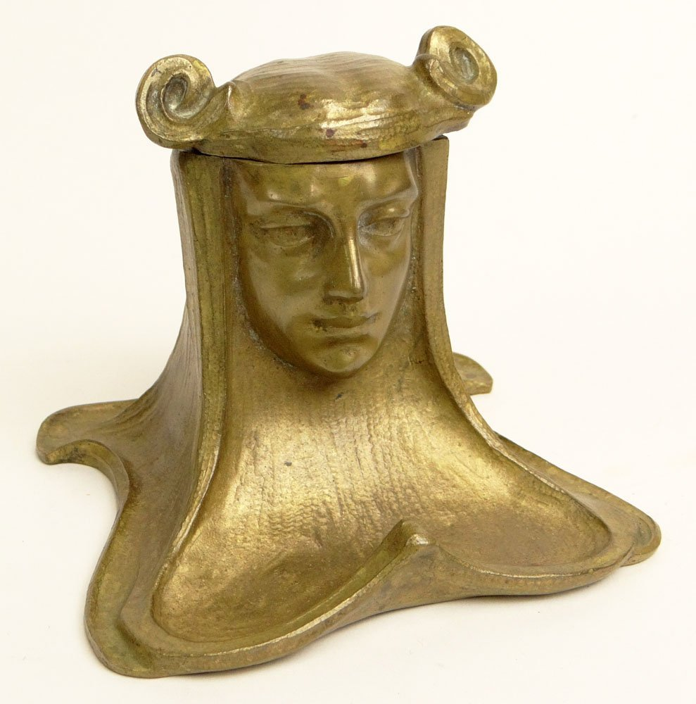 Circa 1900 Art Nouveau Gilt Bronze Inkwell in the Form