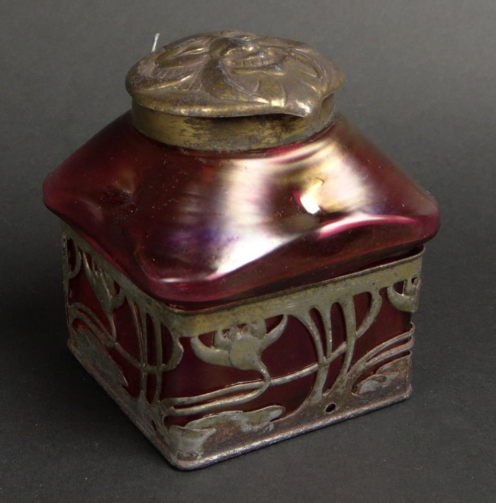 Art Nouveau Loetz Art Glass Bronze Mounted Inkwell with