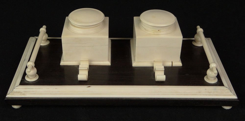 Ebony and Ivory Double Inkwell Desk Stand. Two (2)