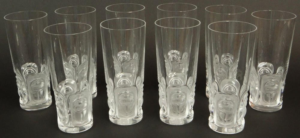 Set of Ten (10) Lalique France Frosted and Clear