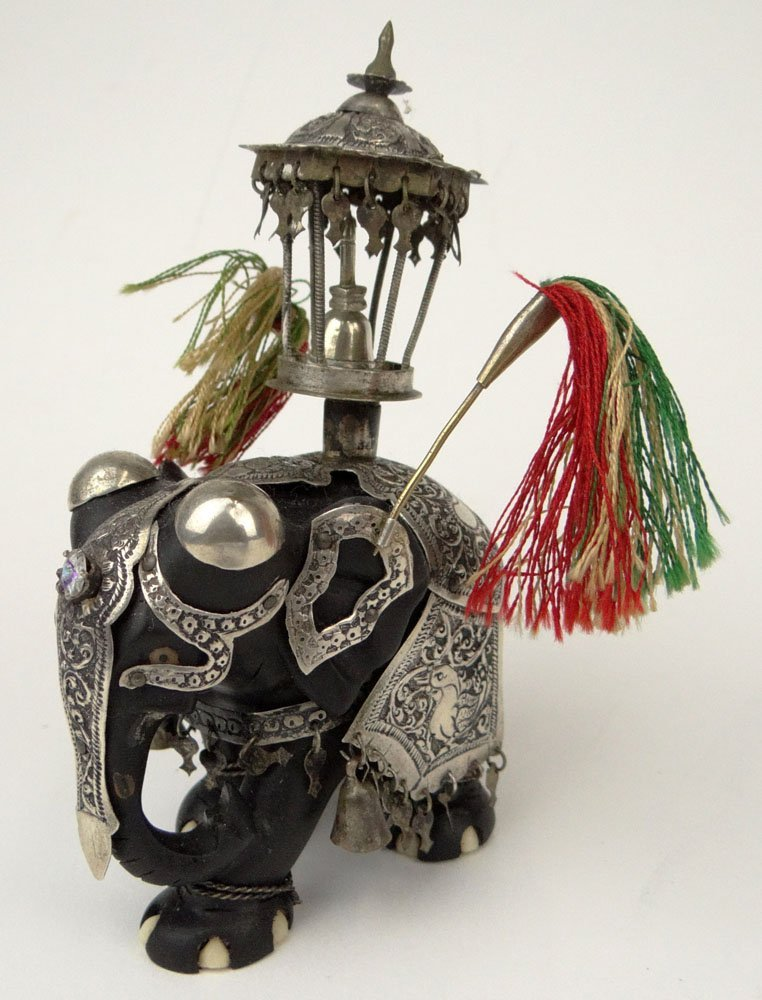 Vintage Indian Silver Mounted Carved Ebony and Ivory