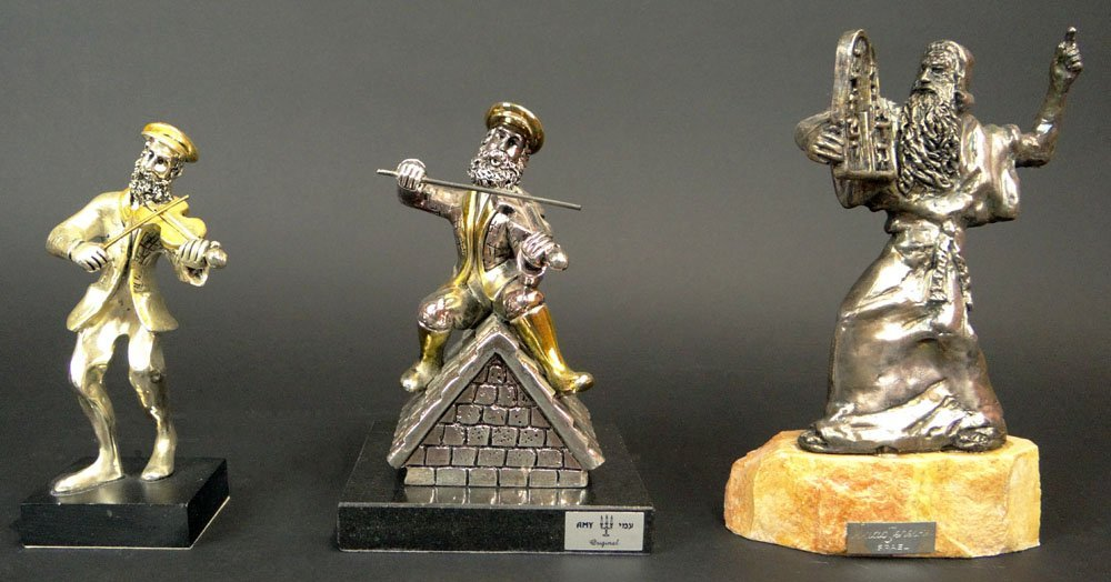 Three (3) Judaic Sterling Silver Figures Mounted on