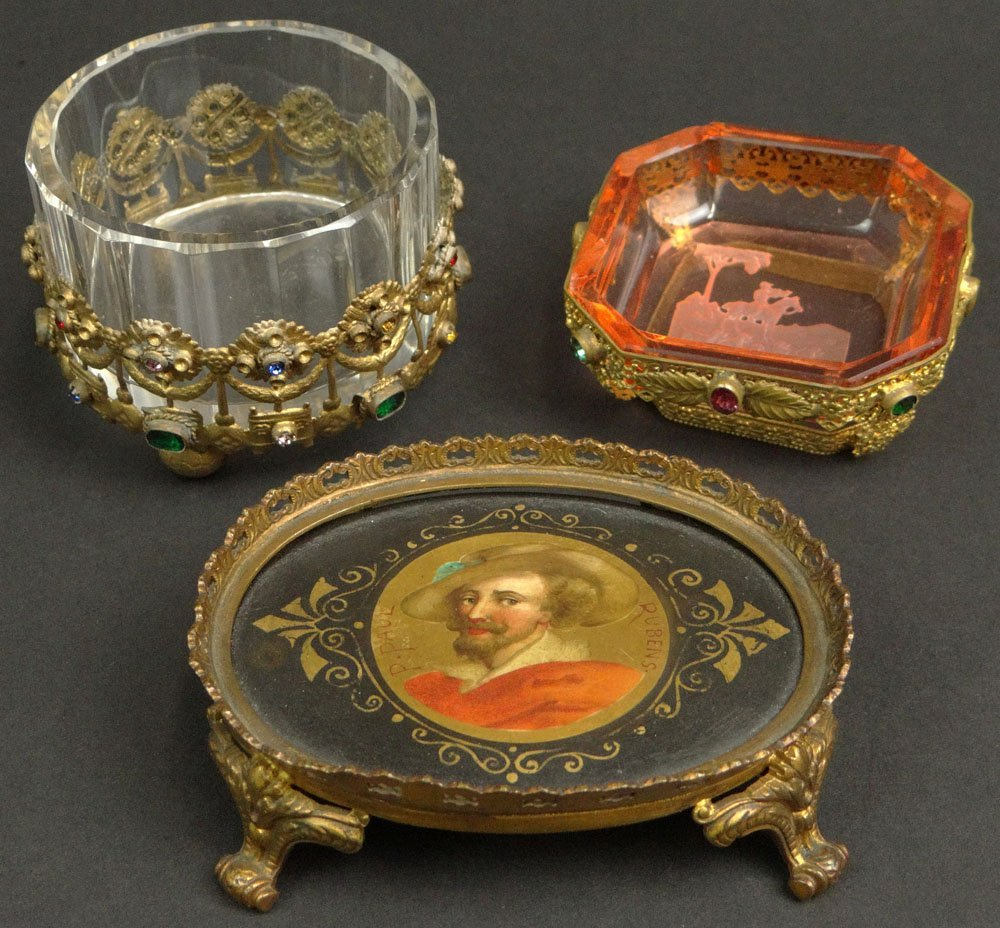 Three (3) Miniature Bejeweled Brass Mounted Tabletop