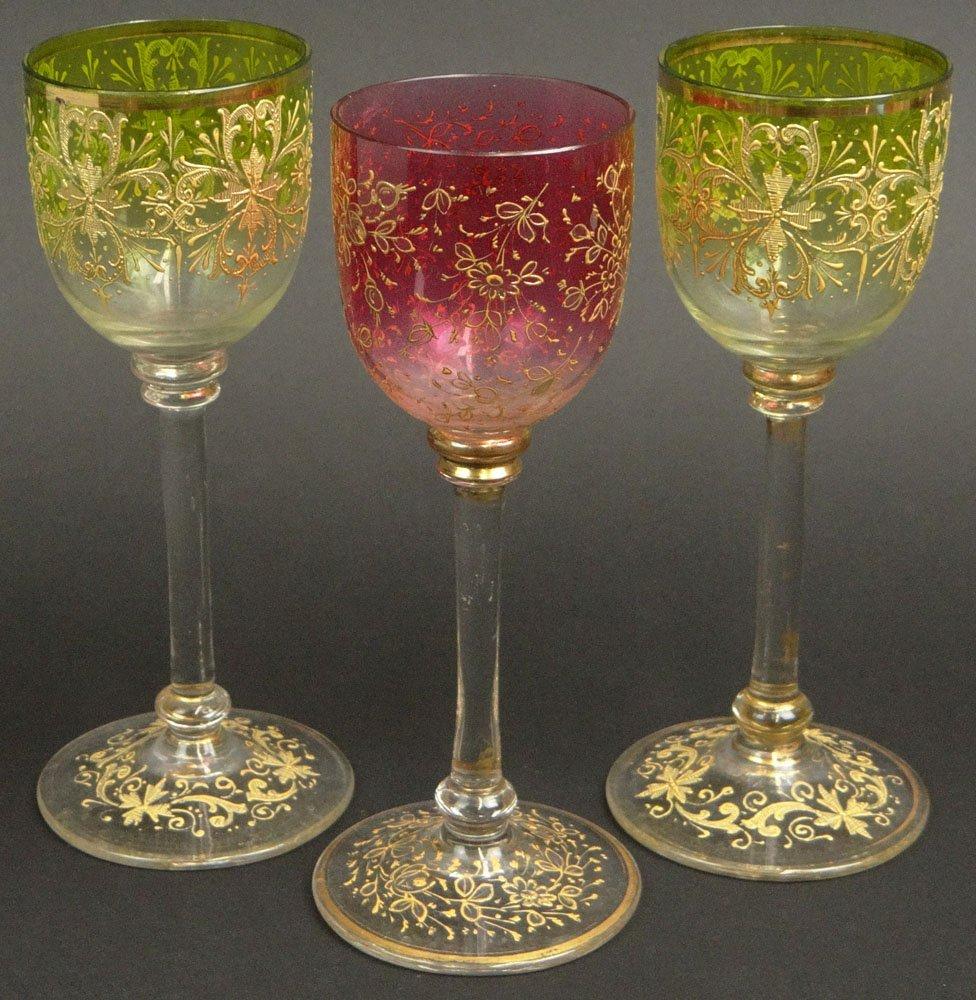 Three (3) Moser Art Glass Stems with Raised Gilt