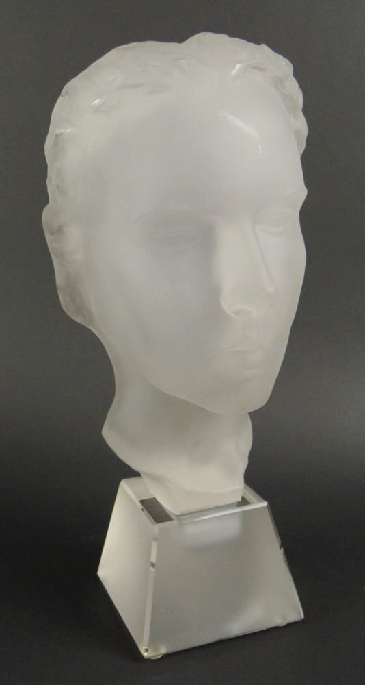 """20th Century Frosted Art Glass """"Face"""" Sculpture Mounted"""