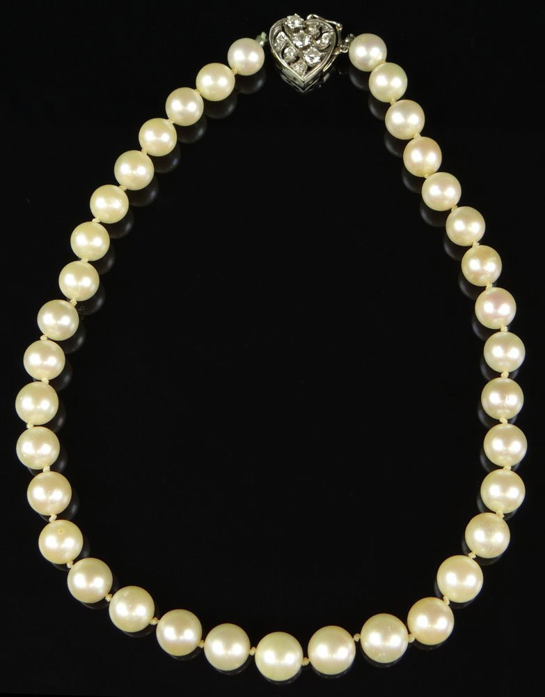 Vintage Single Strand 6mm Pearl Necklace with Diamond