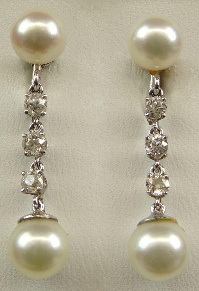 Pair of Vintage Diamond, Pearl 14 Karat White Gold Drop