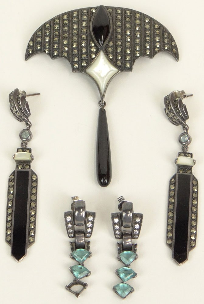 Circa 1930 Art Deco Marcasite, Onyx, Pearl and Sterling