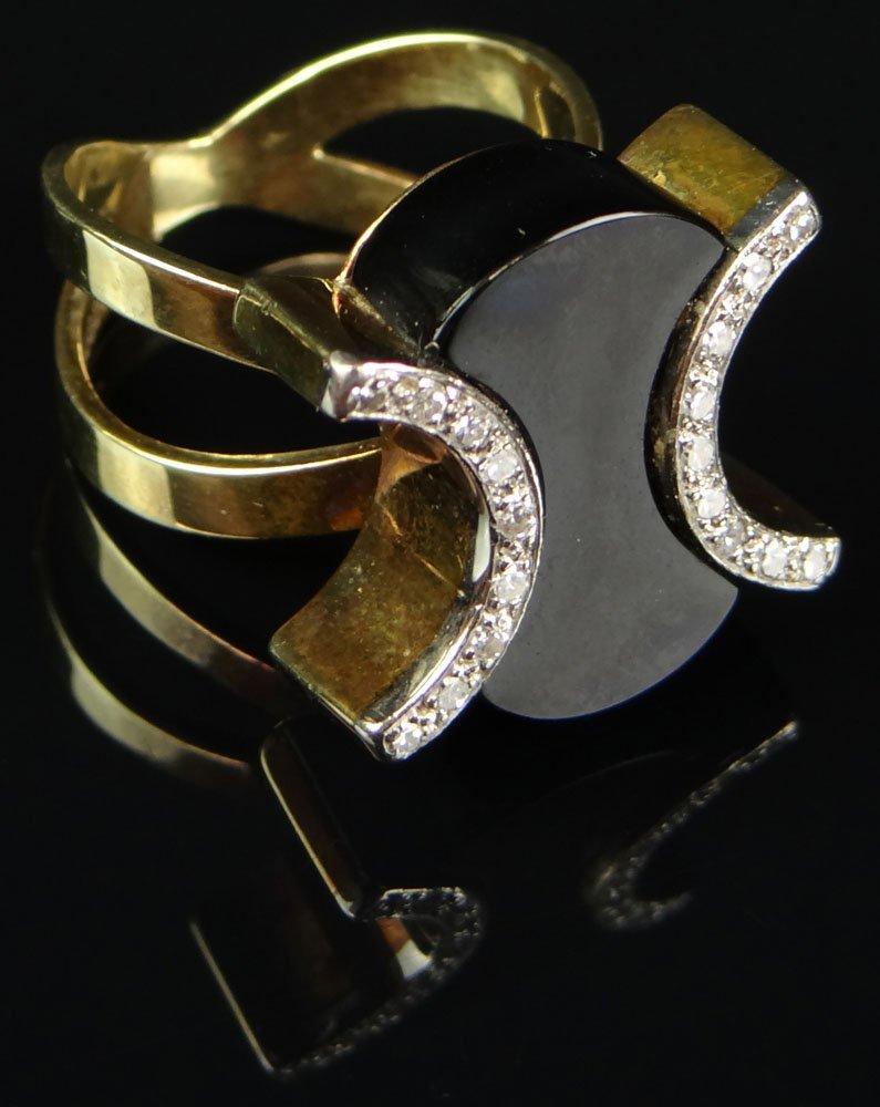 Lady's 14 Karat Yellow Gold, Diamond and Black Onyx