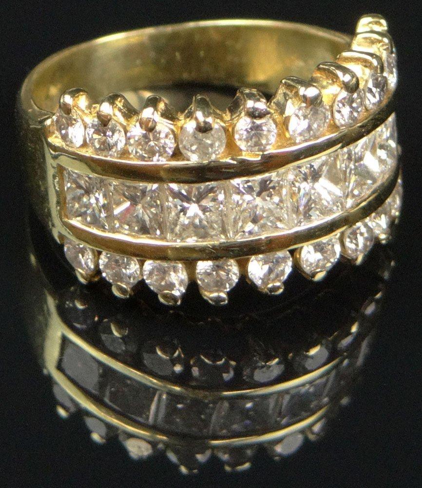 Contemporary 14 Karat Yellow Gold and Diamond Lady's