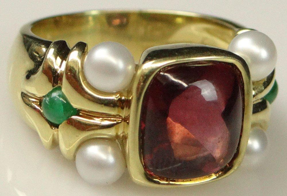 Lady's Antique style Cabachon Rubelite, Emerald, Pearl