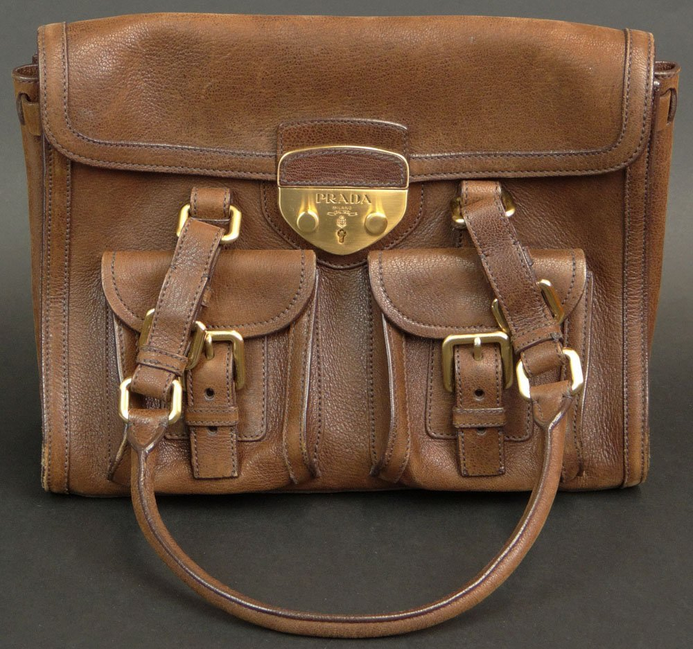 Prada Brown Leather Lady's Handbag with Double Outside