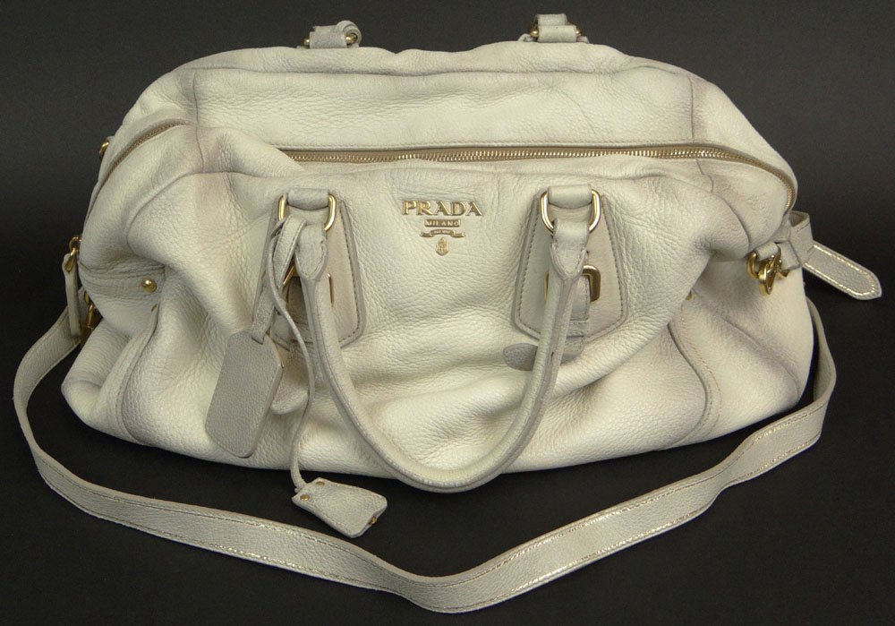 Prada White Deerskin Leather Lady's Handbag. Has
