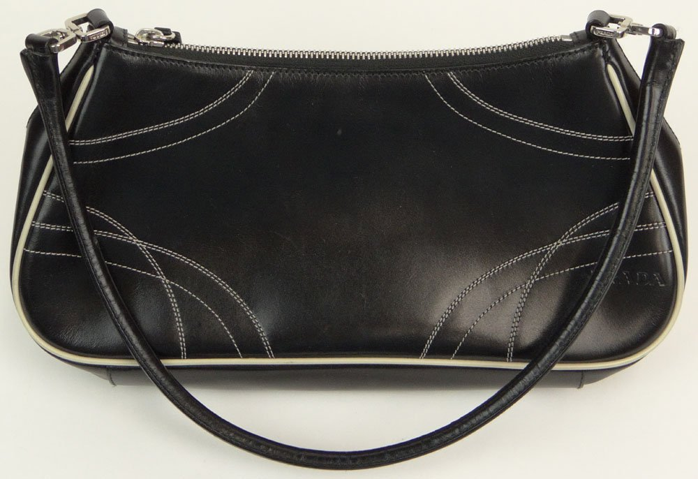Prada Black Leather Lady's Handbag with White