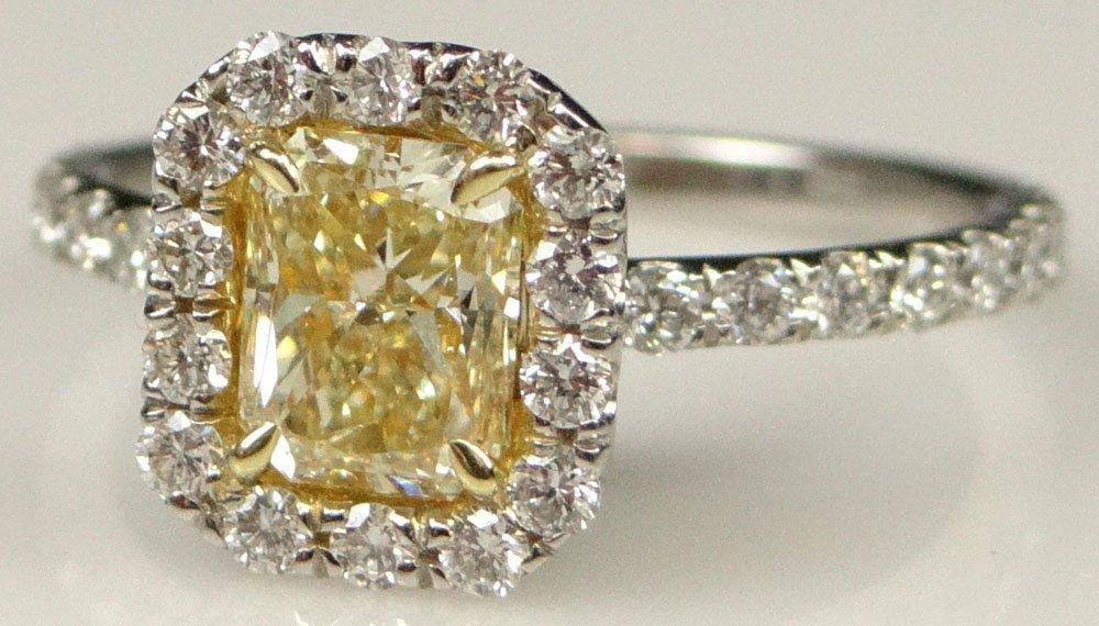 EGL Certified Lady's 1.01 Carat Fancy Intense Yellow