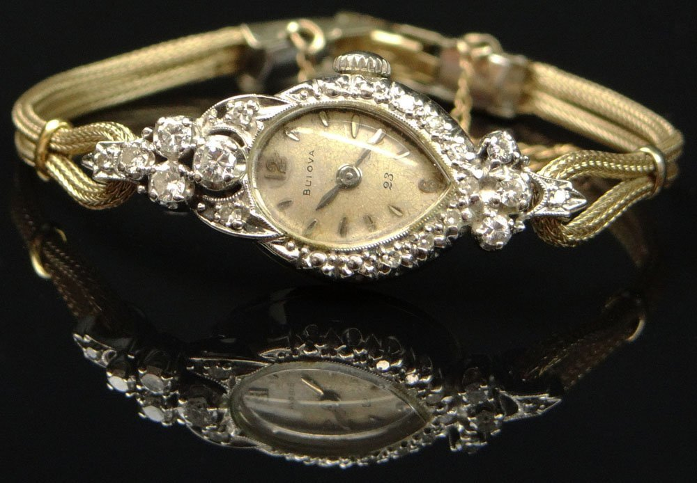 Lady's Vintage Bulova .50 Carat Diamond and 14 Karat