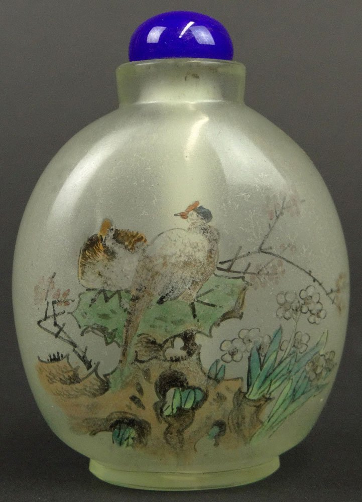 19/20th Century Chinese Inside Painted Glass Snuff