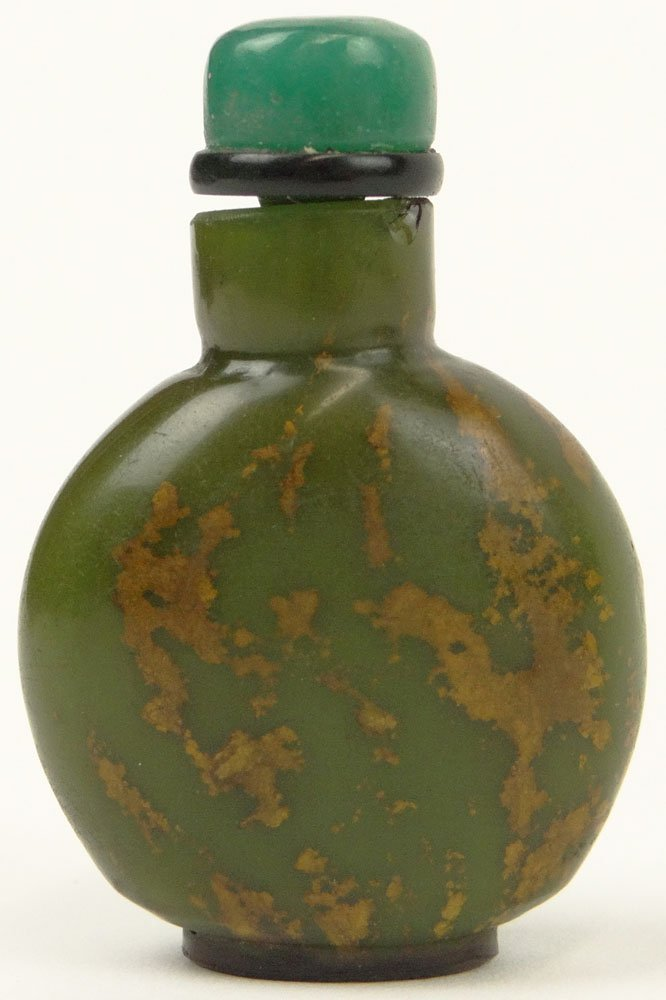 19th Century Chinese Green Glass Snuff Bottle Emulating