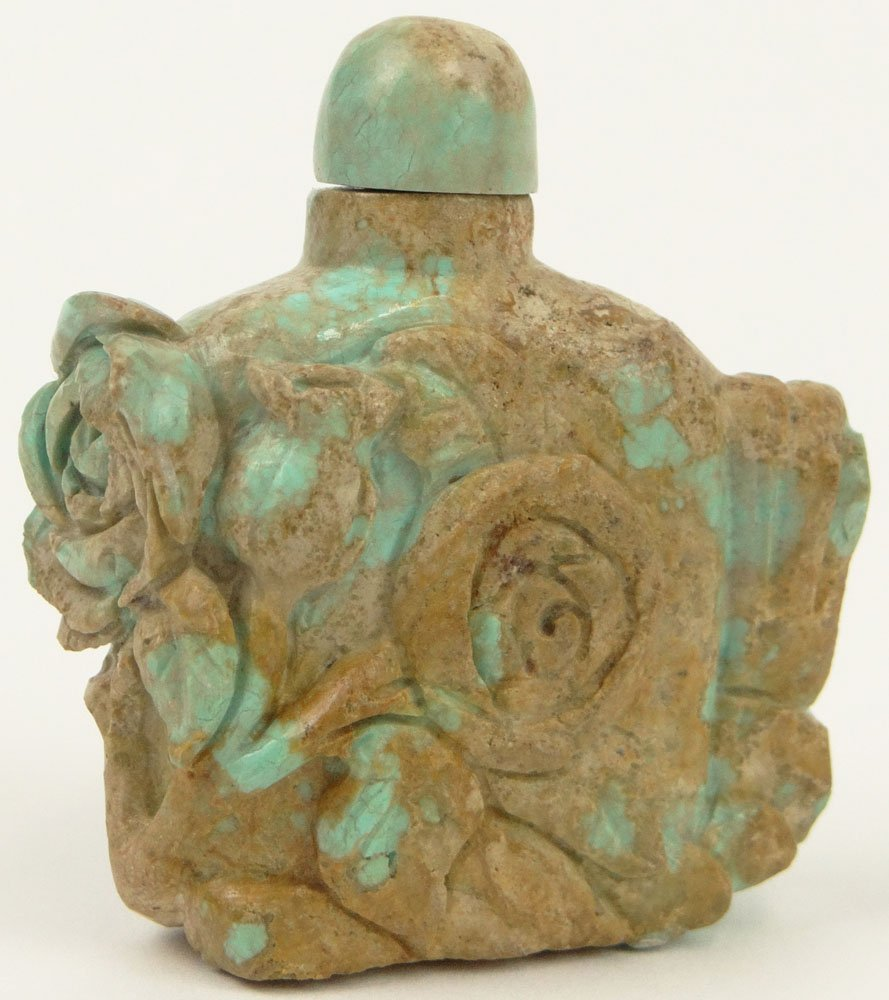 19th Century Chinese Turquoise Snuff Bottle Carved in