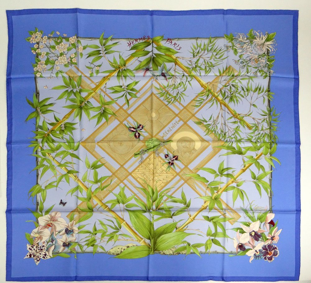 New and Unused French Hermes Silk Twill Scarf with