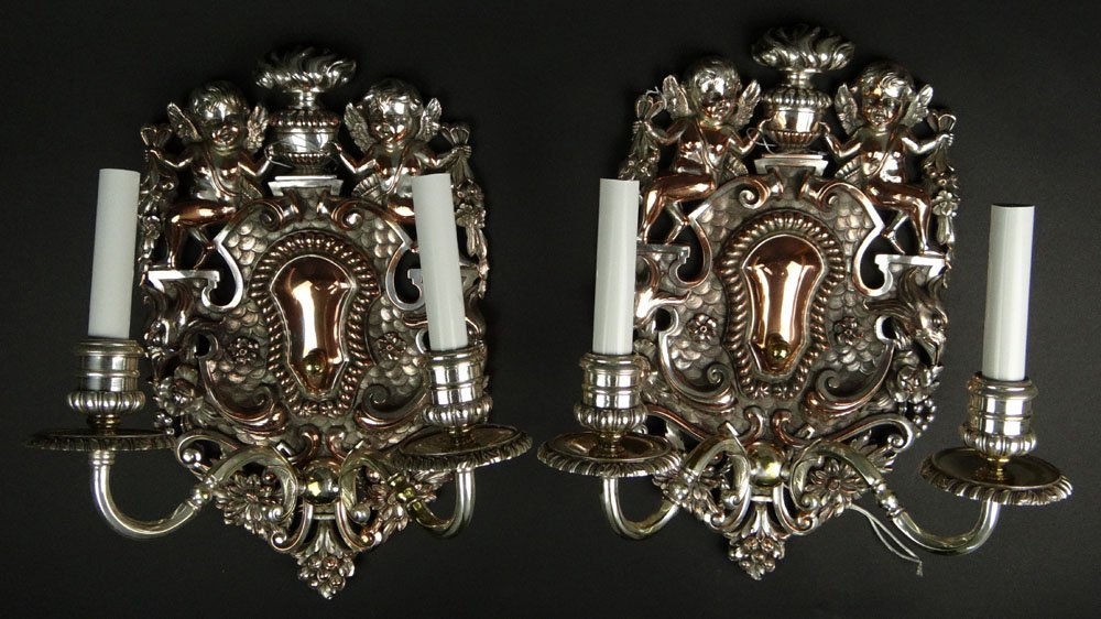 Pair of Vintage Baroque style Silver Plate Two Light
