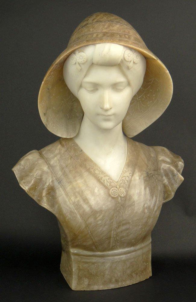 Beautiful Pugi Italian, (1870-1915) Carved Alabaster