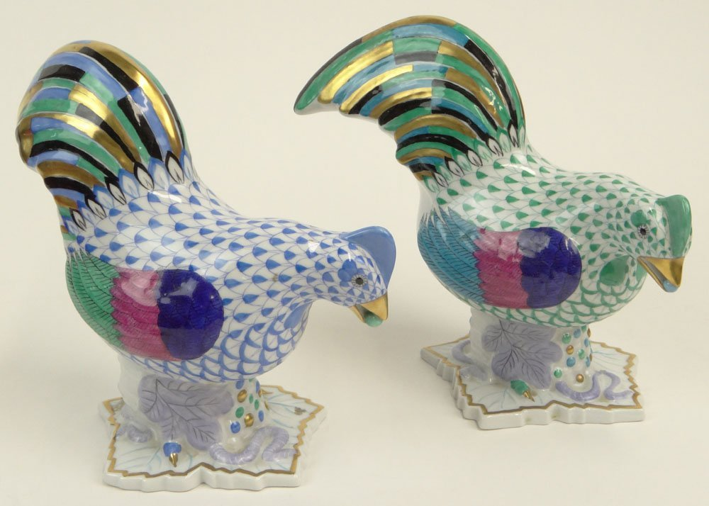 Two (2) Vintage Herend Porcelain Chicken/Hen Figurines.