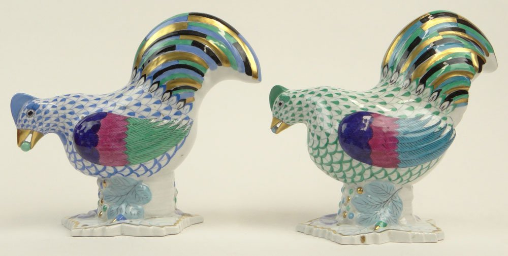 Two (2) Vintage Herend Porcelain Chicken/Hen Figurines. - 4