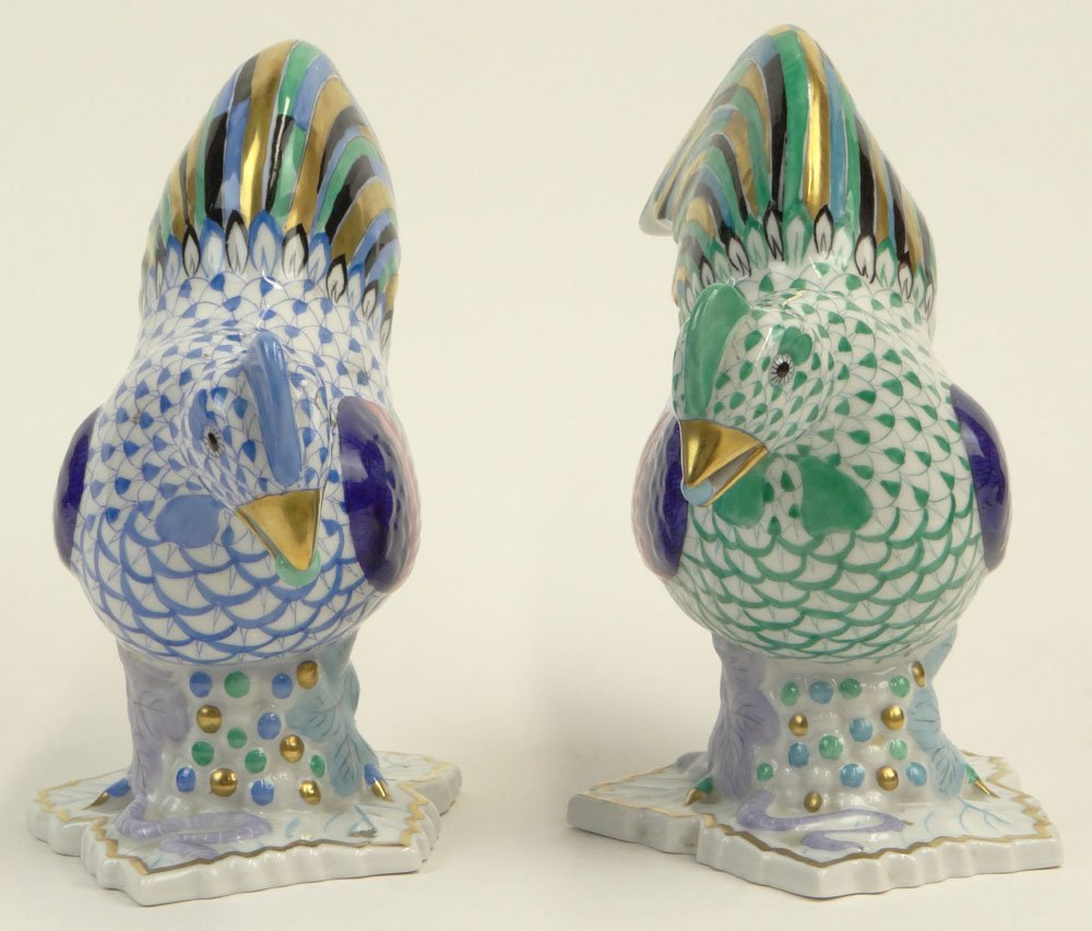 Two (2) Vintage Herend Porcelain Chicken/Hen Figurines. - 5