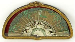 Antique Hand Painted Silk Fan. Decorated Throughout