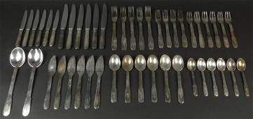 Forty Seven 47 Piece Christofle Art Deco Silver Plate