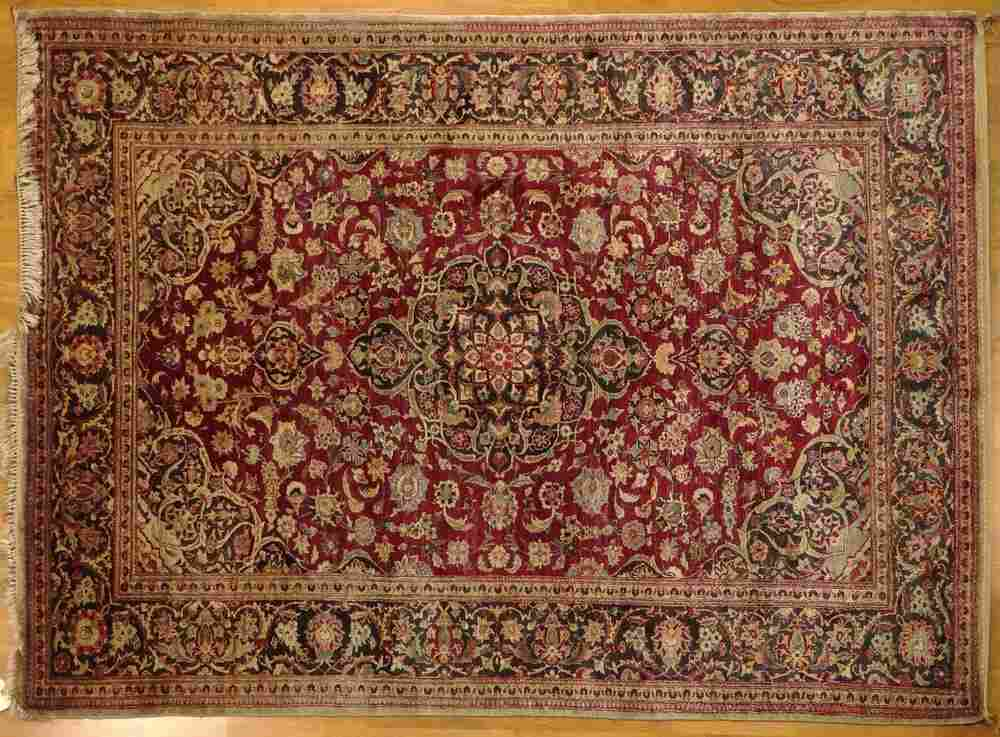 Semi Antique Persian Kashan Silk Rug. Small Cloth Tag