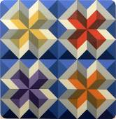 Contemporary Abstract Color Lithograph Vasarely Style