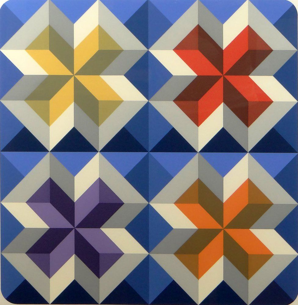 Contemporary Abstract Color Lithograph, Vasarely Style.