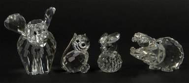 Lot of Four (4) Swarovski Crystal Figurines. Elephant,